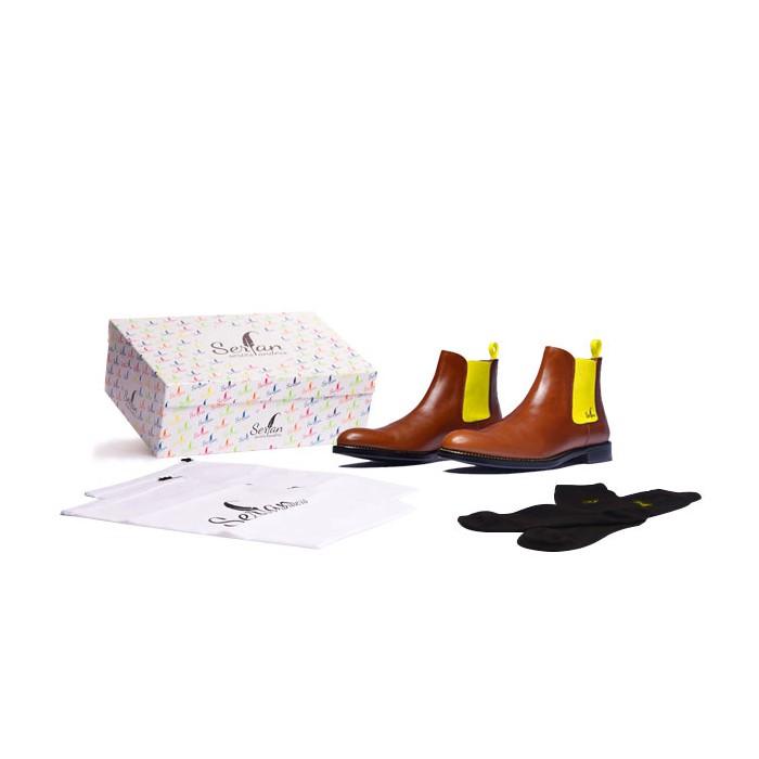 d50373ca45c7f2 Serfan Chelsea Boot Men Calf Leather Cognac Yellow