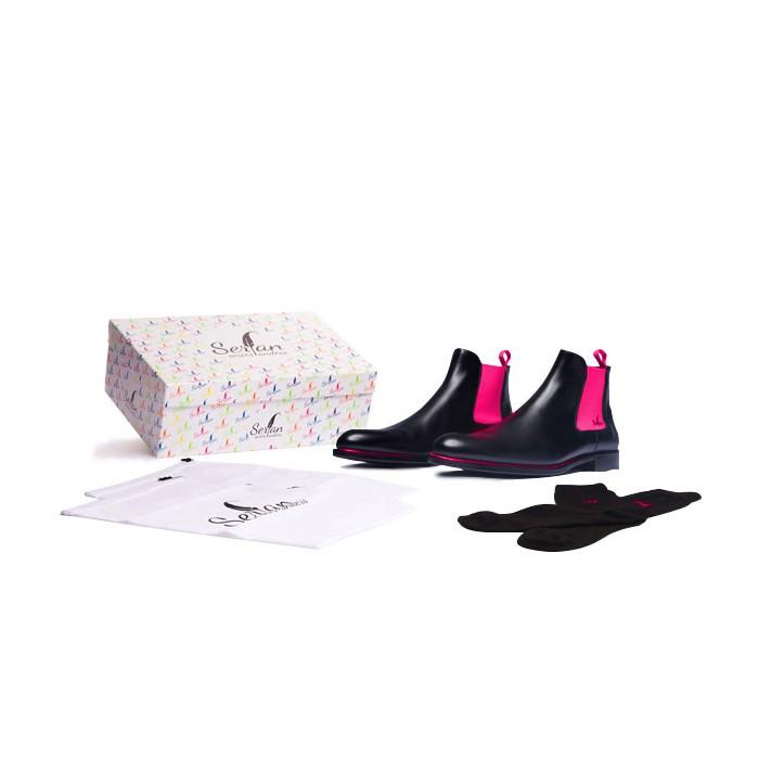 623256ff2efcd2 Serfan Chelsea Boot Damen Schwarz Pink farbige Naht