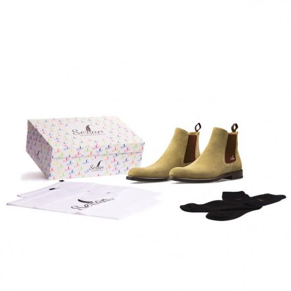 serfan chelsea boot damen wildleder beige braun. Black Bedroom Furniture Sets. Home Design Ideas