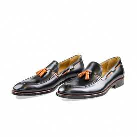 Serfan Loafer Herren Glattleder Schwarz Orange