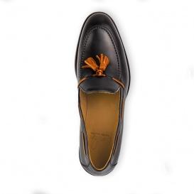 Serfan Loafer Herren Glattleder Schwarz Orange