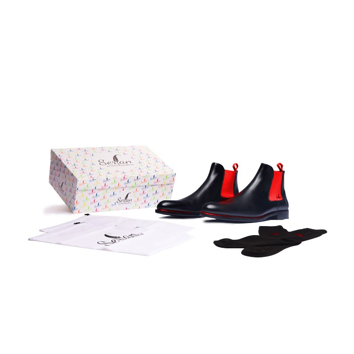 48f1e5b80270a Serfan Chelsea Boot Men Calf Leather Black Orange