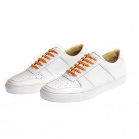 Serfan Sneaker Herren Glattleder Weiß Orange