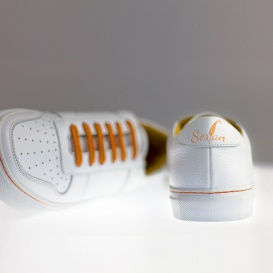 Serfan Sneaker Men smooth leather white orange