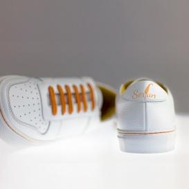 Serfan Sneaker Damen Glattleder Weiß Orange