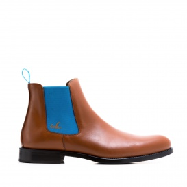 Serfan Chelsea Boot Women Calf leather Cognac Blue