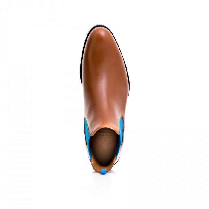 fe5ff9198bcd81 Serfan Chelsea Boot Damen Glattleder Cognac Blau