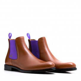 Serfan Chelsea Boot Women Calf Leather Cognac Purple