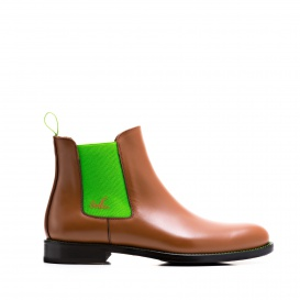 Serfan Chelsea Boot Women Calf leather Cognac Green