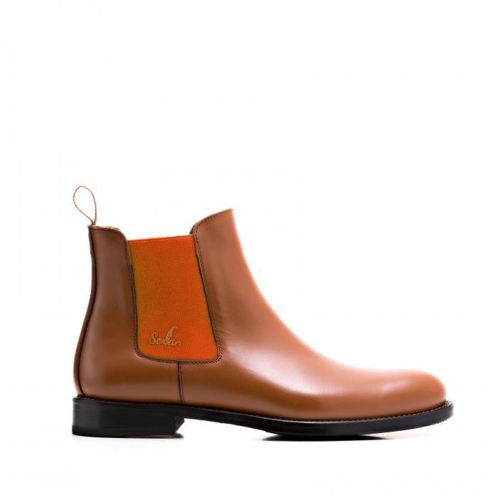fade84d357184c Serfan Chelsea Boot Damen Glattleder Cognac Orange