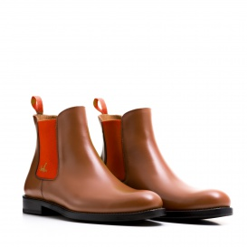 Serfan Chelsea Boot Women Calf leather Cognac Orange