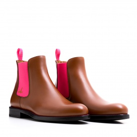 Serfan Chelsea Boot Women Calf leather Cognac Pink