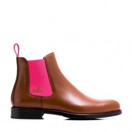 Serfan Chelsea Boot Damen Glattleder Cognac Pink