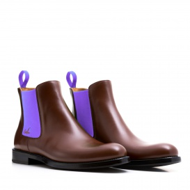 Serfan Chelsea Boot Women Calf leather Braun Purple
