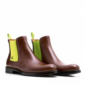 Serfan Chelsea Boot Women Calf leather Brown Yellow