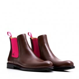 Serfan Chelsea Boot Damen Glattleder Braun Pink