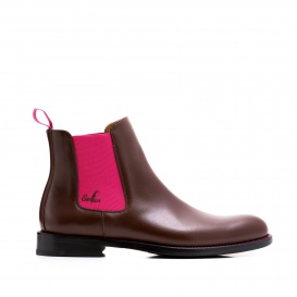 Serfan Chelsea Boot Women Calf leather Brown Pink