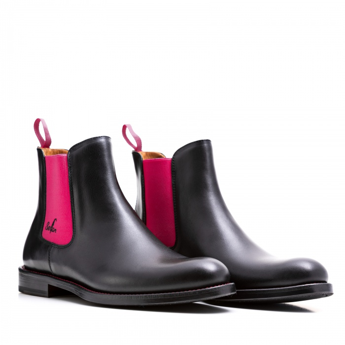 meet 07737 a8ed3 Serfan Chelsea Boot Damen Schwarz Pink farbige Naht