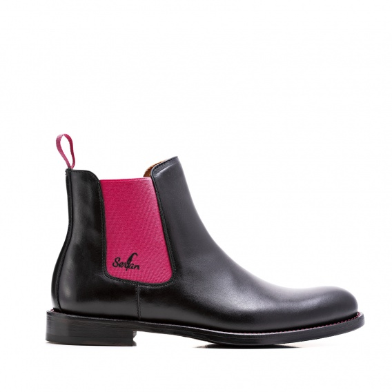 serfan chelsea boot damen schwarz pink farbige naht