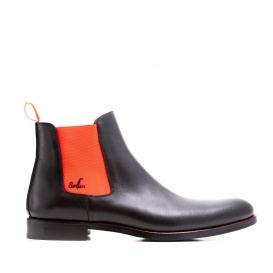 Serfan Chelsea Boot Damen Glattleder Schwarz Orange