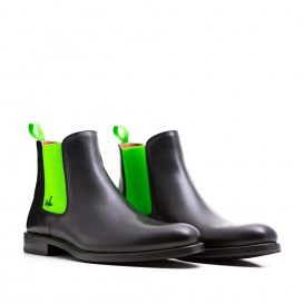 Serfan Chelsea Boot Women Calf leather Black Green