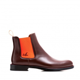 Serfan Chelsea Boot Damen Glattleder Braun Orange