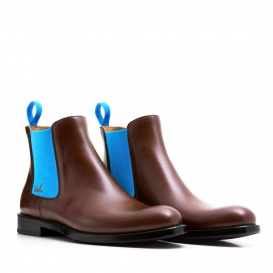 Serfan Chelsea Boot Men Calf Leather Brown Blue
