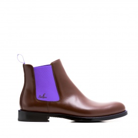 Serfan Chelsea Boot Men Calf Leather Brown Purple