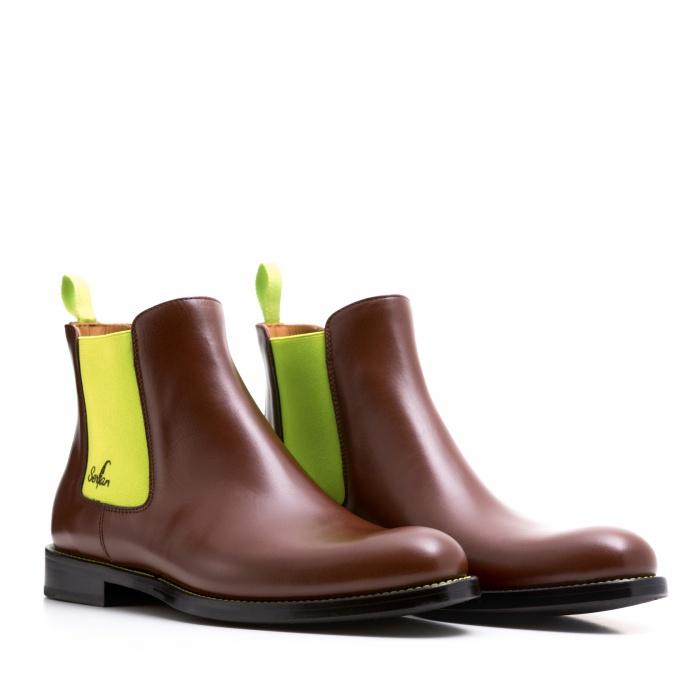 853d8ed52cec32 Serfan Chelsea Boot Men Calf Leather Brown Yellow