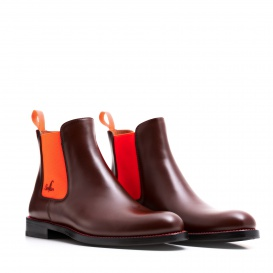 Serfan Chelsea Boot Men Calf Leather Brown Orange
