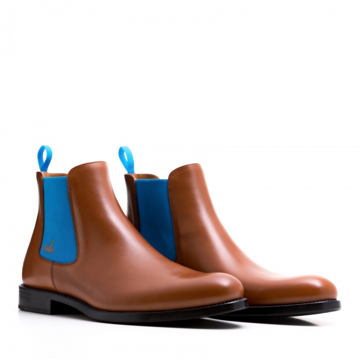 serfan chelsea boot men calf leather cognac blue. Black Bedroom Furniture Sets. Home Design Ideas