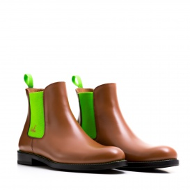 Serfan Chelsea Boot Men Calf Leather Cognac Green