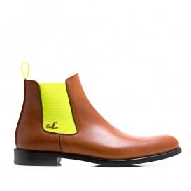 Serfan Chelsea Boot Men Calf Leather Cognac Yellow
