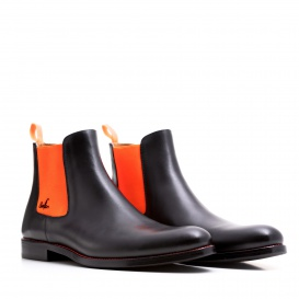 Serfan Chelsea Boot Men Calf Leather Black Orange