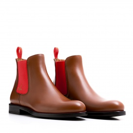 Serfan Chelsea Boot Men Calf Leather Cognac Red