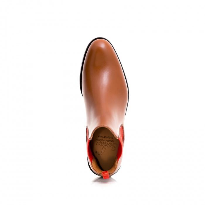 77816de4545ec6 Serfan Chelsea Boot Men Calf Leather Cognac Red