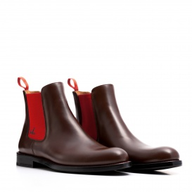 Serfan Chelsea Boot Women Calf leather Brown Red