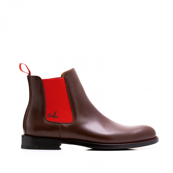 f66e948f08cd18 Serfan Chelsea Boot Damen Glattleder Braun Rot
