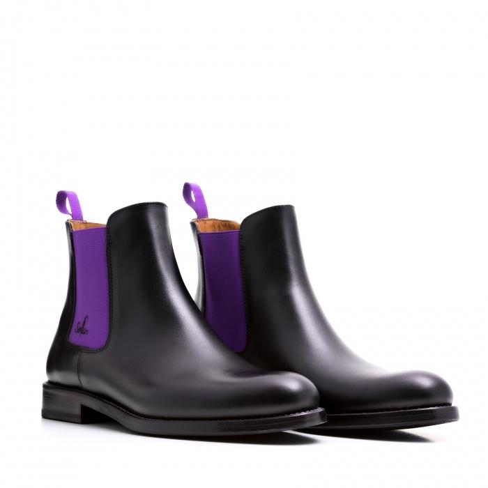 serfan chelsea boot herren schwarz lila farbige naht. Black Bedroom Furniture Sets. Home Design Ideas