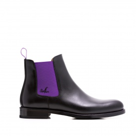 Serfan Chelsea Boot Men Calf Leather Black Purple