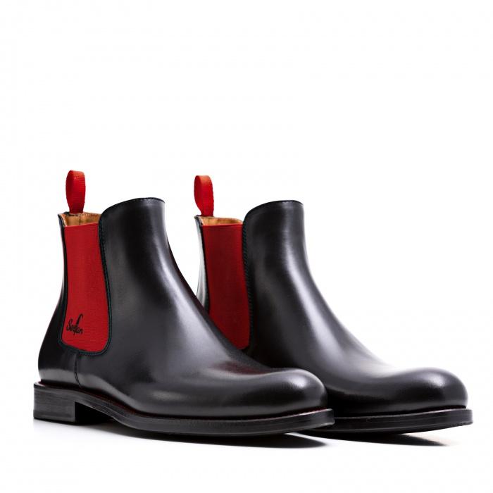 newest collection 5d504 b85b8 Serfan Chelsea Boot Herren Glattleder Schwarz Rot