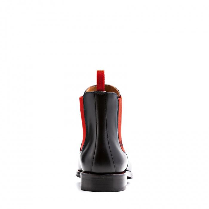 27a81e7e2b0f26 Serfan Chelsea Boot Men Calf Leather Black Orange