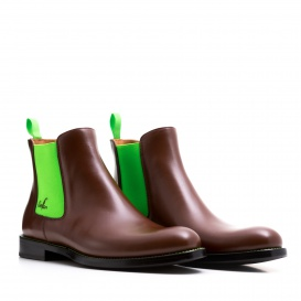 Serfan Chelsea Boot Women Calf leather Brown Green