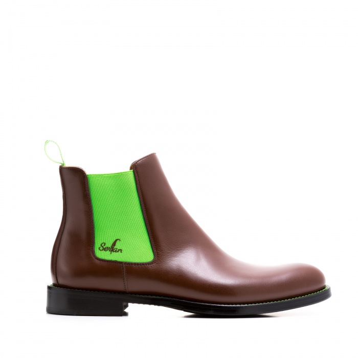 buy online bc21f 5a7bc Serfan Chelsea Boot Women Calf Leather Brown Green