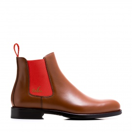 Serfan Chelsea Boot Women Calf Leather Cognac Red