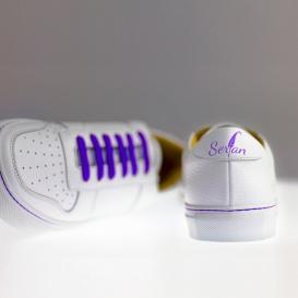 Serfan Sneaker Herren Glattleder Weiß Lila
