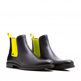 Serfan Chelsea Boot Women Calf leather Black Yellow black stiching