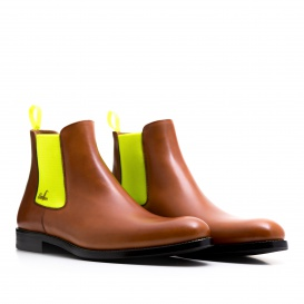 Serfan Chelsea Boot Men Calf Leather Cognac Yellow