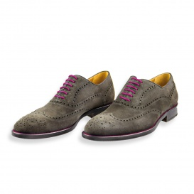 Serfan Oxford Women Suede Grey Pink