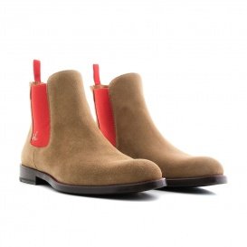 Serfan Chelsea Boot Women Suede Beige Red